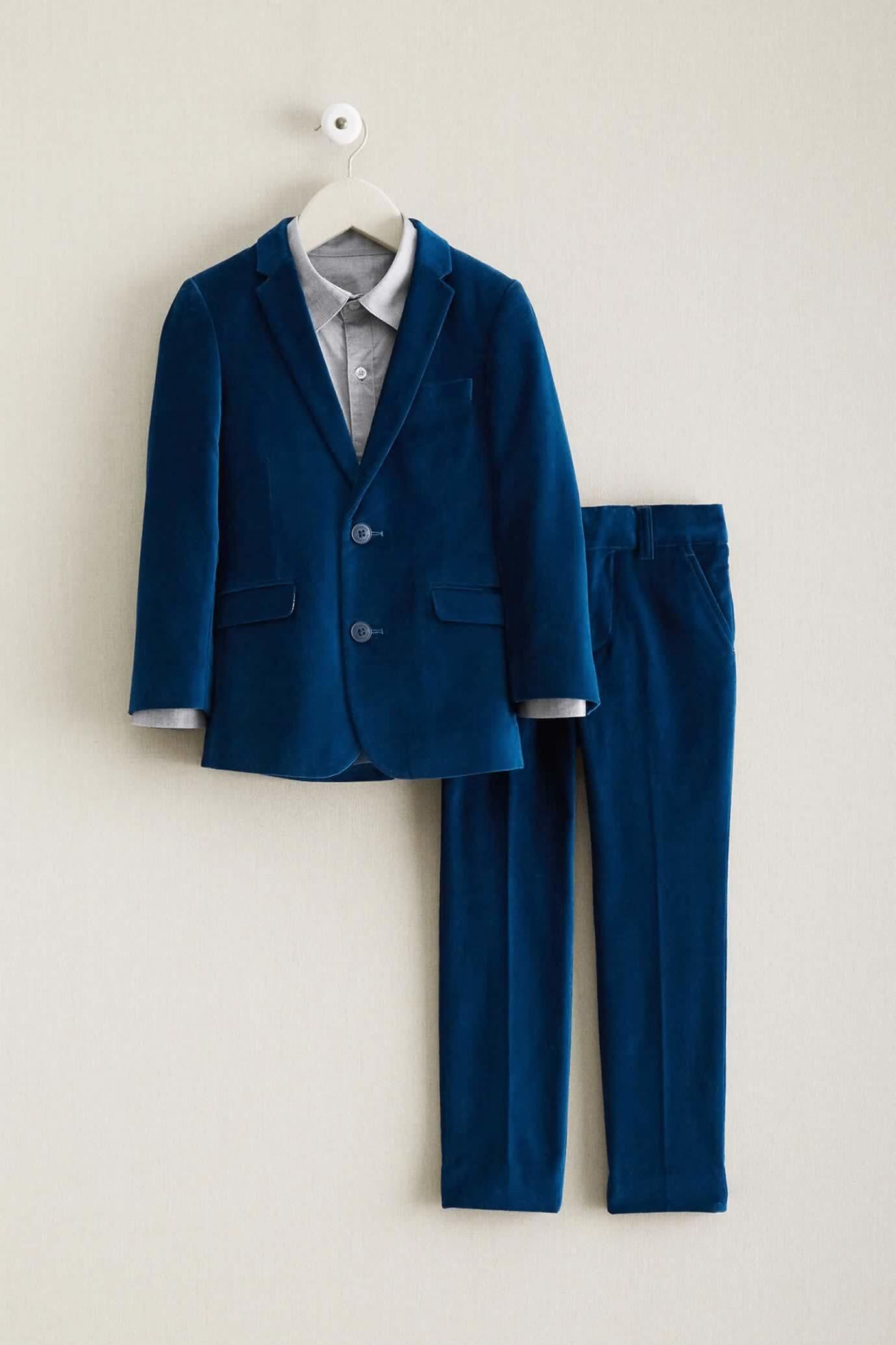 Boys Ocean Blue Velvet Suit