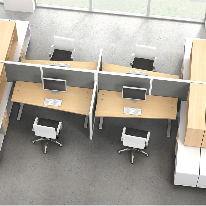 Plan With Seven Workbenches, Desks And Tables For