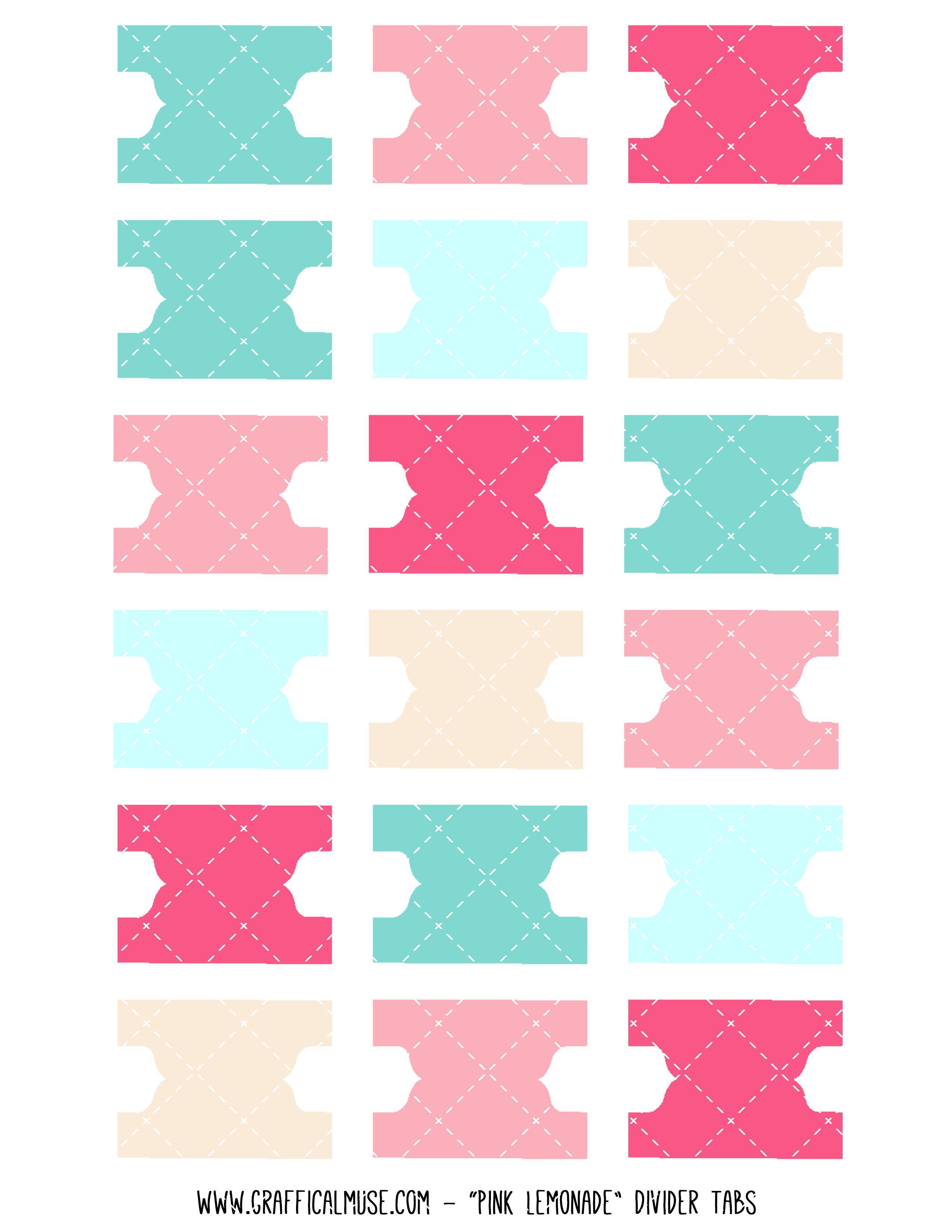 planner journaling printables planner printable divider tabs pink lemonade planner. Black Bedroom Furniture Sets. Home Design Ideas