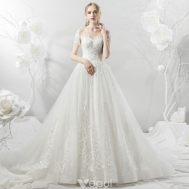 Niedrogie Białe Przezroczyste Suknie ślubne 2018 Princessa