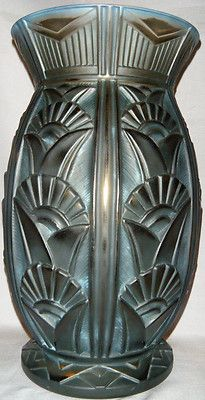 RARE HIGHLY Stylized RARE French Art Deco Lorrain Sgned 1920s Huge Glass Vase