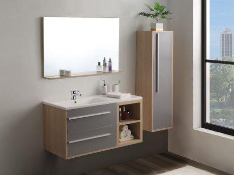 Ensemble JASMINE - meubles de salle de bain - Bois et gris ...
