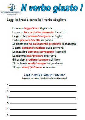 Giochi e colori schede didattiche del maestro fabio for Esame di italiano per carta di soggiorno esempi