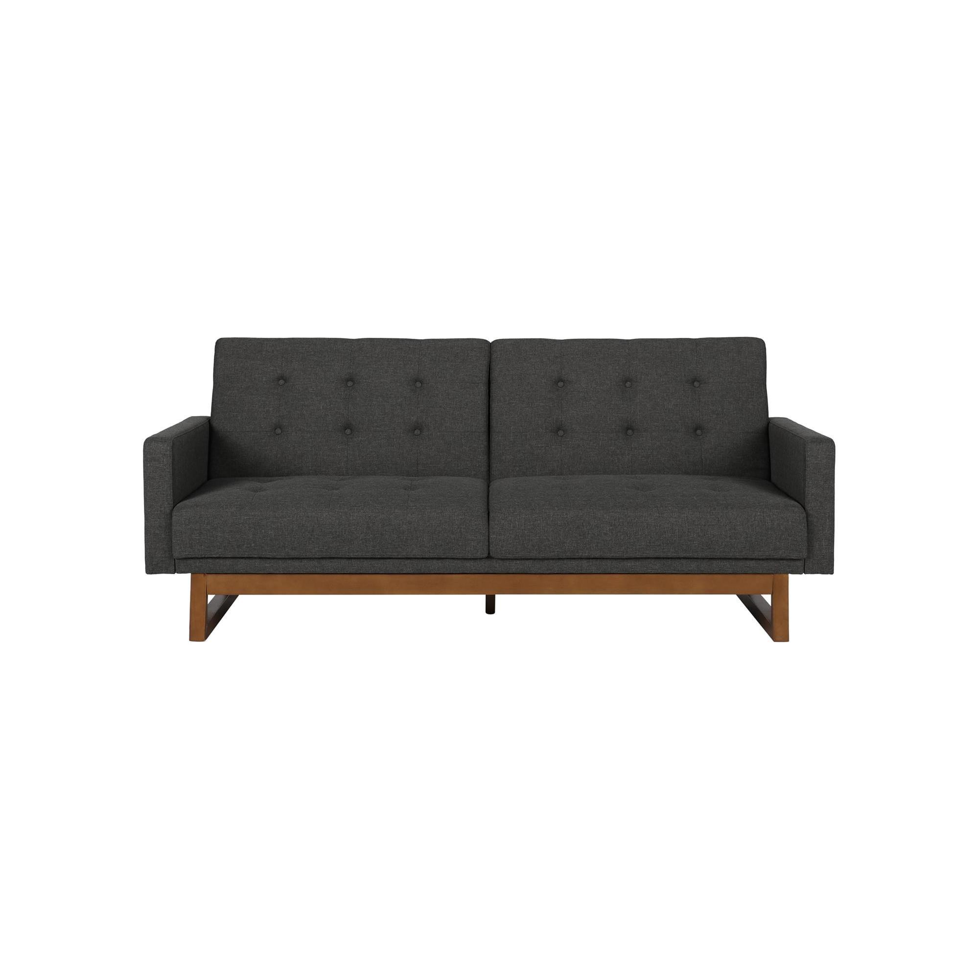Modern Coral Gables Futon with Wood Frame Gray Dorel Home