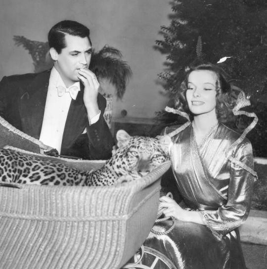 "Screwball comedy classic, ""Bringing Up Baby"" Cary Grant and Katharine Hepburn 1938"