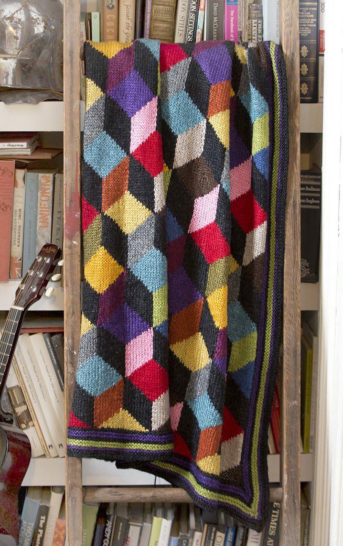 #Free #Knitting #Pattern: Blazing Blocks Afghan