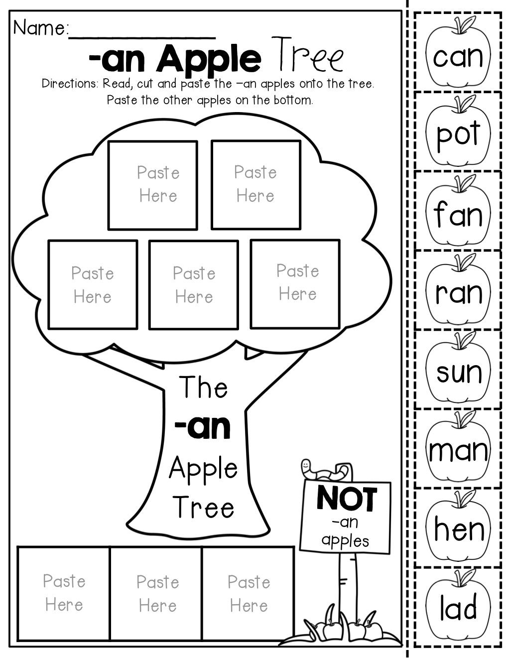Cvc Word Family Apple Trees No Prep Cut And Paste