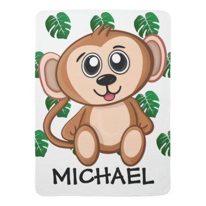 Cute Safari Monkey Cartoon Jungle Pattern Name Baby Blanket