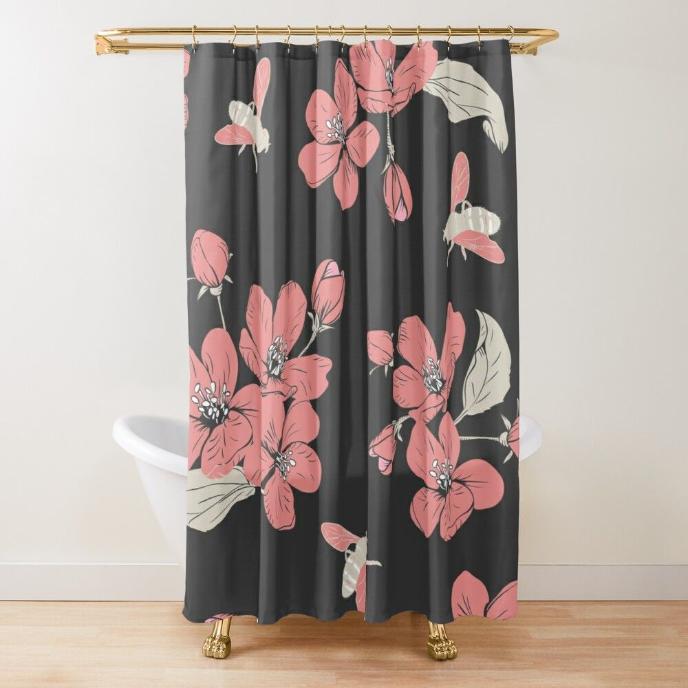 Gray Cherry Blossom Clipart Pattern Shower Curtain By
