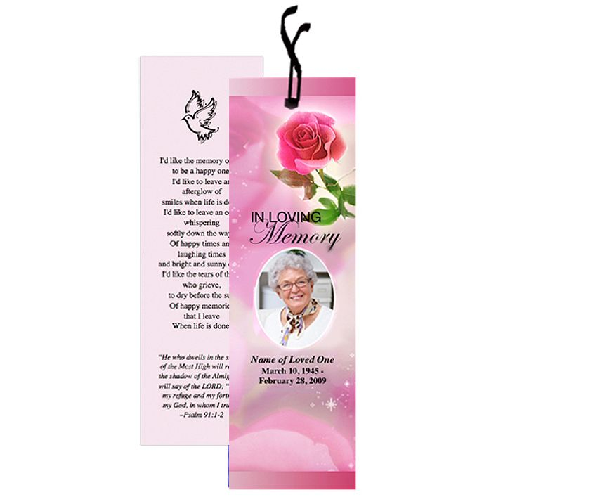 Nice Memorial Bookmarks Petals Bookmark Template Layout