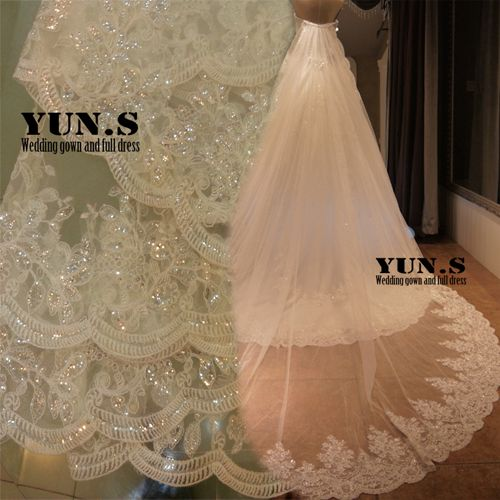 Bling Lace Princess Sequined 3 Meters Train Long Bridal Wedding Veil Cathedral Veils