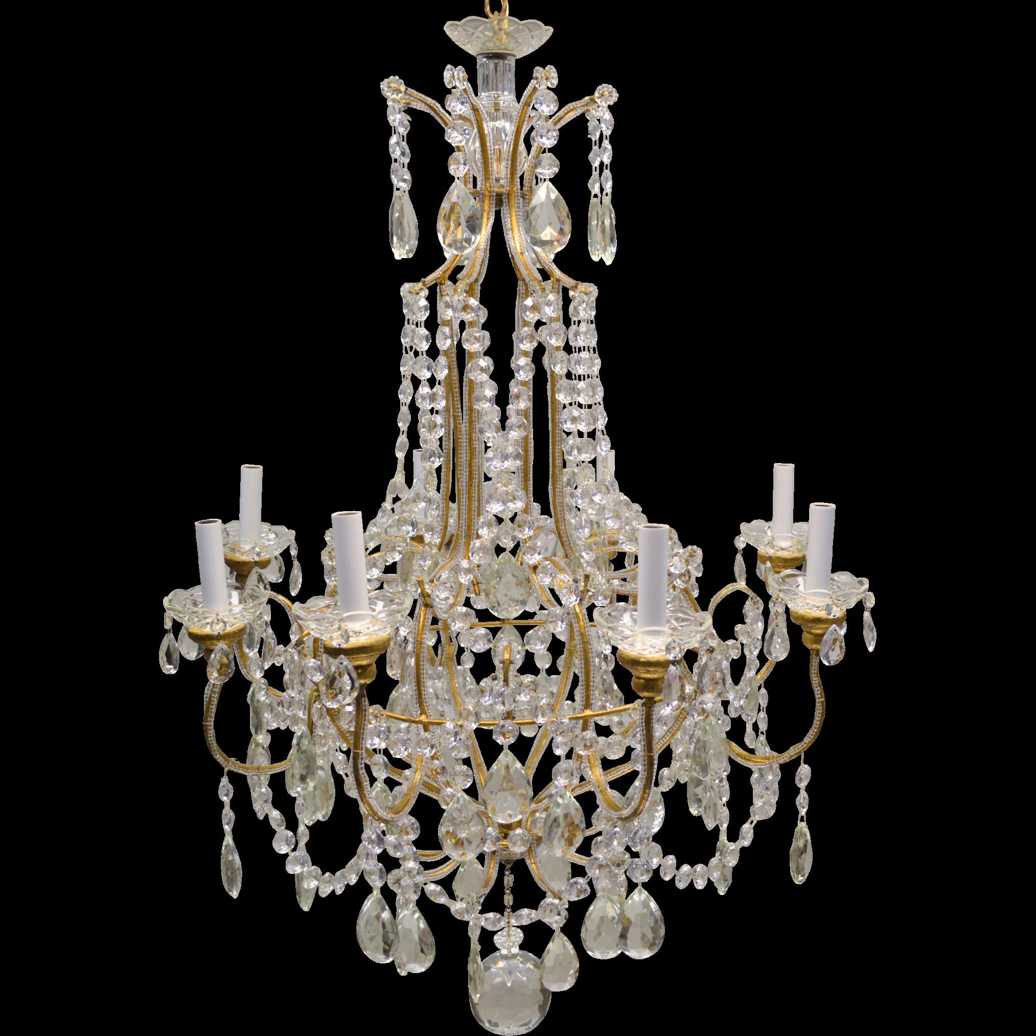 Vintage Beaded Italian Crystal Chandelier 8 Light