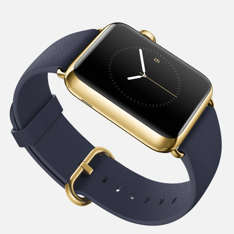 Gold Apple Watch 24k with Navy Band Visit Www.iWatchBuzz