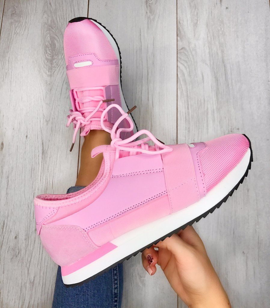 Baby Pink Balenciaga Style Trainers