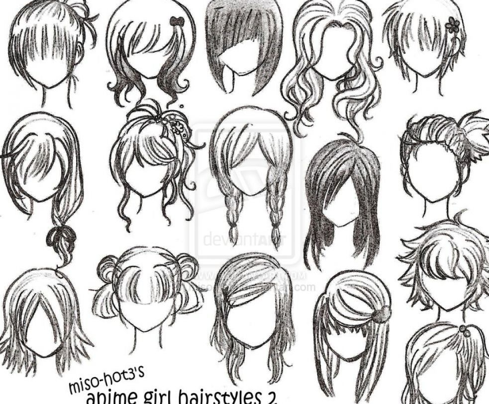 Drawing girl hair styles how to draw anime girl hairstyles pictures 1