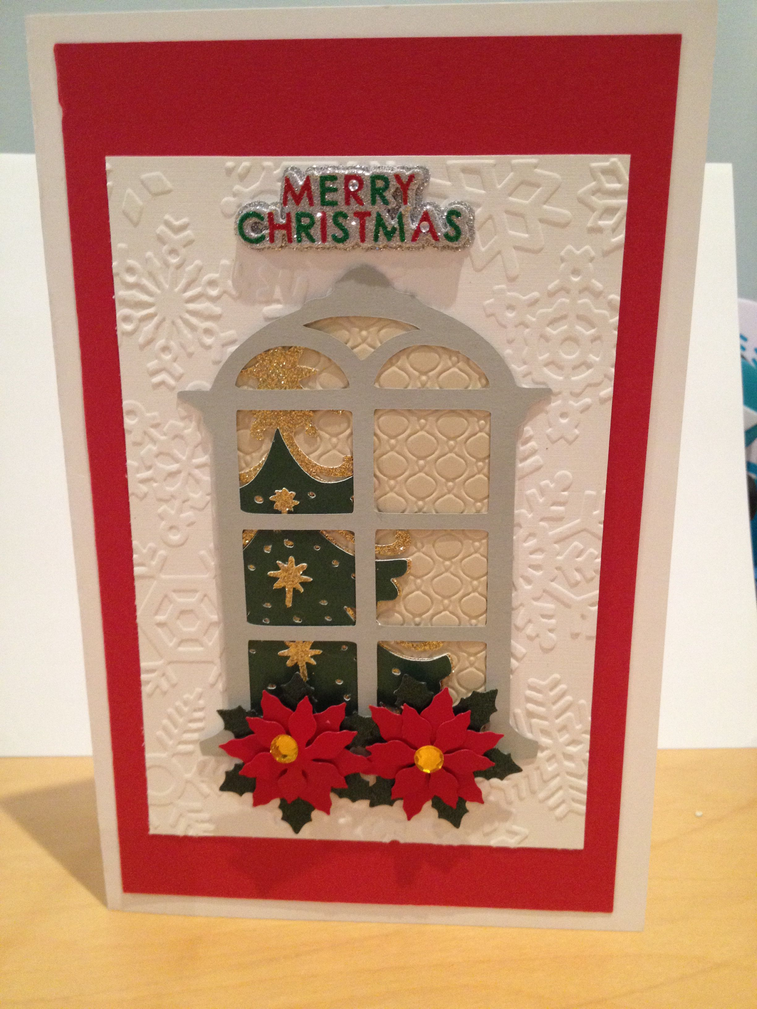 Cricut Christmas card. With embossing folder and