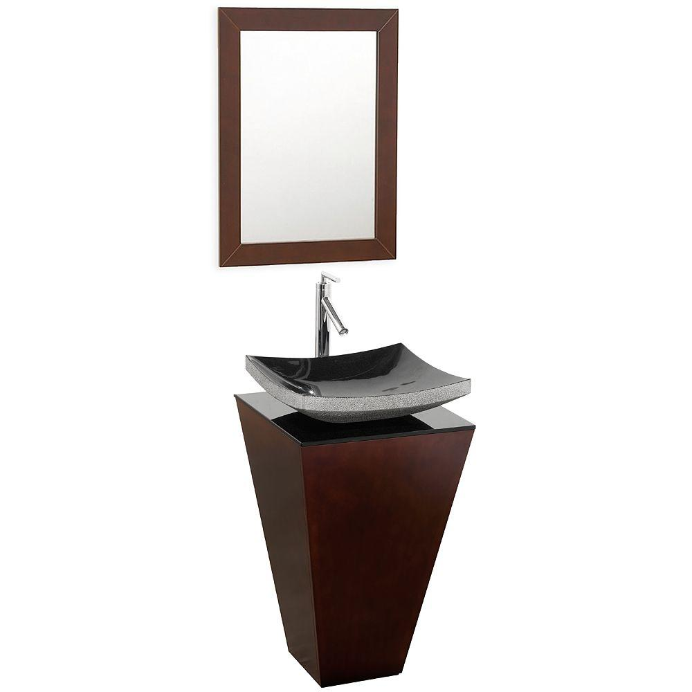 Wyndham Collection Esprit 20 In Vanity In Espresso With Glass Vanity Top In Black And Mirror Wcscs004essmgs1 The Home Depot In 2020 Bathroom Sink Vanity Small Bathroom Sinks Vanity Set With Mirror