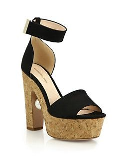 Nicholas Kirkwood - Maya Pearl-Detail Satin & Cork Platform Sandals