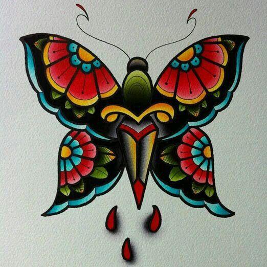 Traditional Butterfly Tattoo Flash: Tatuagem De Borboleta Colorida, Arte Da