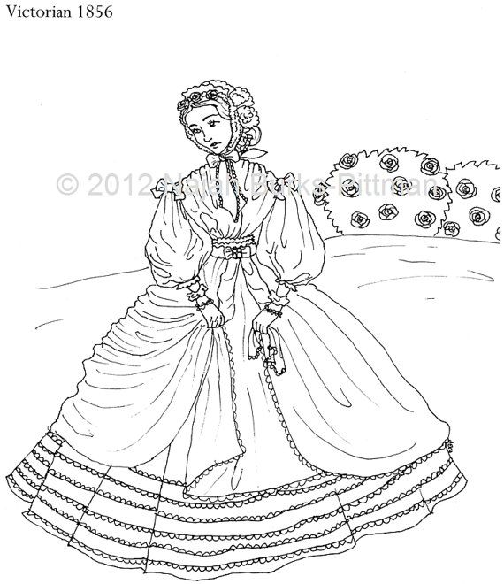 Woman in 1856 Dressing Up Through History Coloring Page