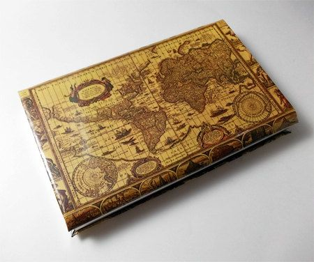 Business Card Case With Vintage Antique World Map