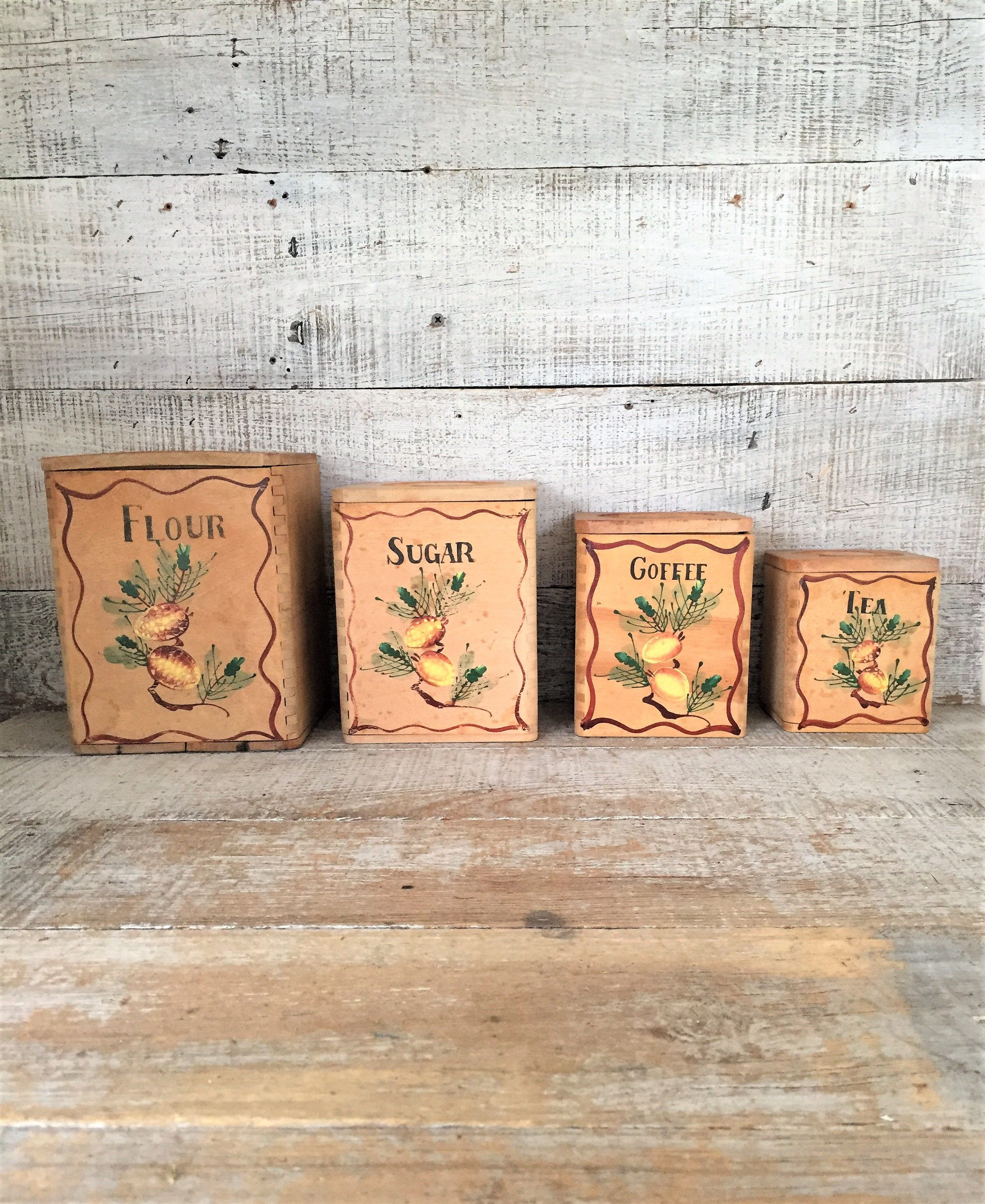 Canisters Wood Canisters Set 4 Kitchen Canisters Vintage Canisters Flour Sugar Coffee Tea Containers Kitchen Canister Set Made In Japan by TheDustyOldShack on Etsy