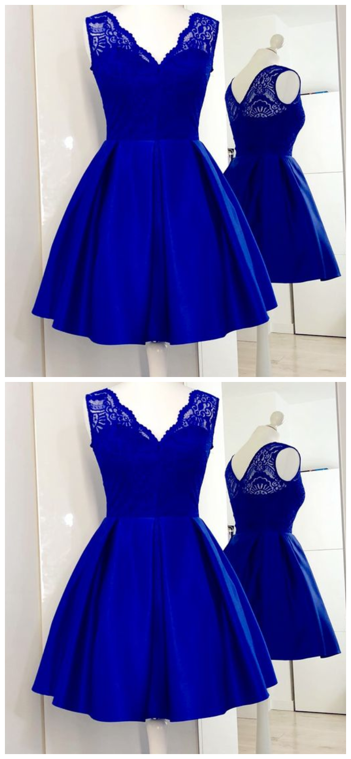 291f468e88 V-Neck Royal Blue Satin Short Homecoming Dress with