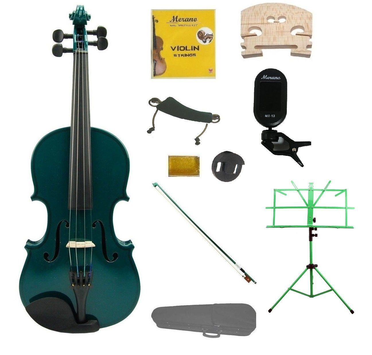 1/4 Green Violin,Case,Green Bow+Rosin+2 Bridges+Tuner