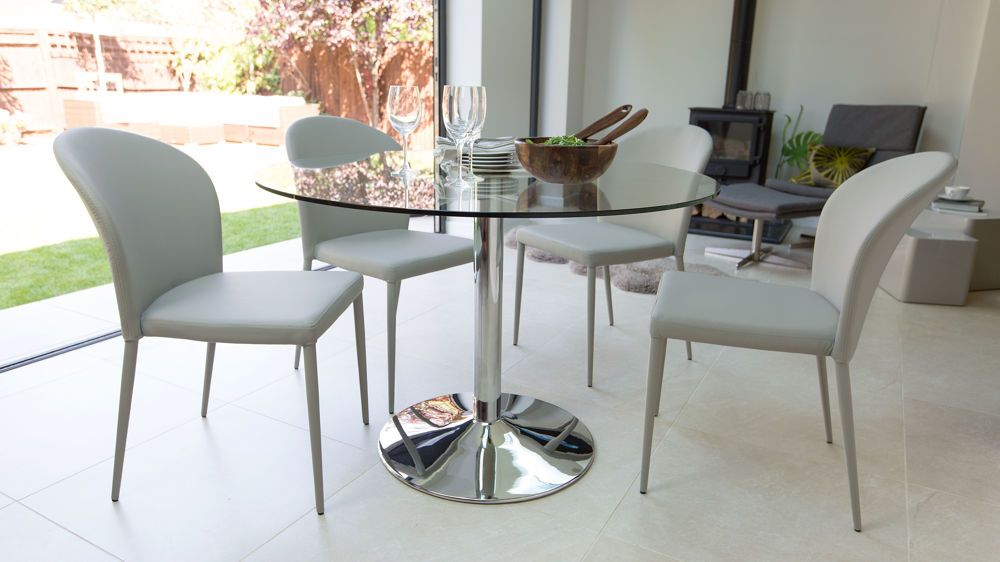 Naro Round Glass 4 Seater Table Glass Round Dining Table Glass Dining Table Glass Dining Table Set