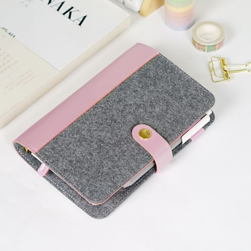 $20- Japanese Personal Dairy Felt With Pu Leather Travel