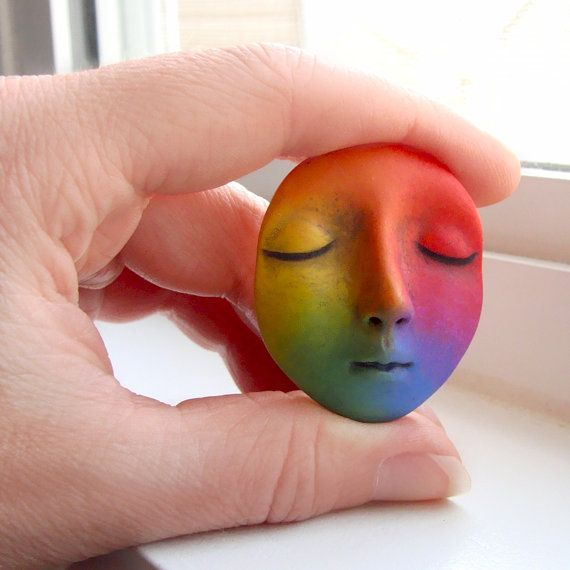 Rainbow Dream Goddess Art Doll Face Cab Bright by graphixoutpost, $9.75