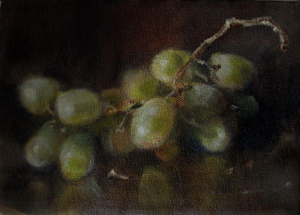 white grapes 5 x 7 Oil on Canvas