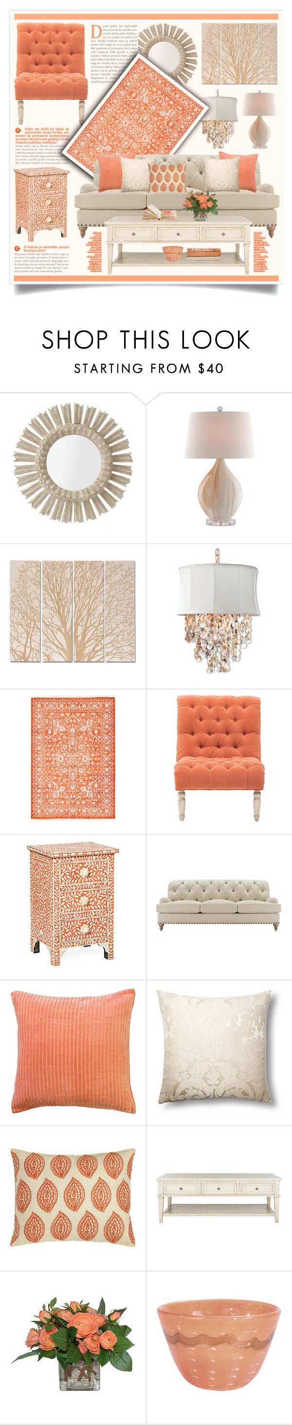 """""""Taupe & Salmon Living Room Decor"""" by hmb213 ❤ liked on Polyvore featuring interior, interiors, interior design, home, home decor, interior decorating, Williams-Sonoma, Currey & Company, Palecek and Pillow Decor"""