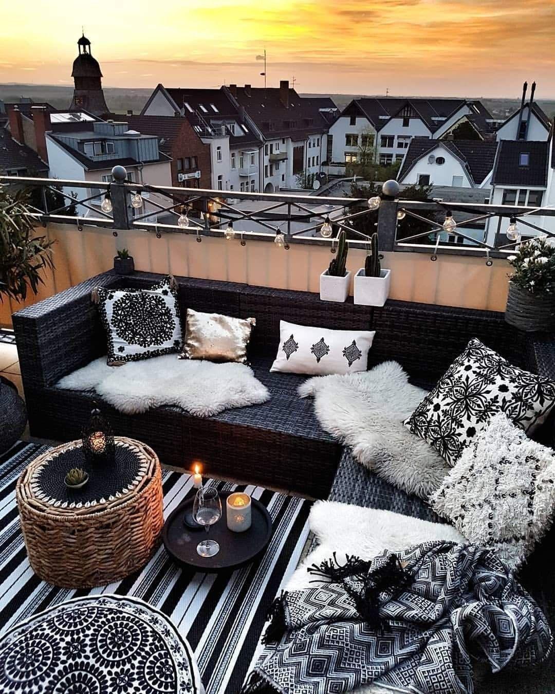 Black And White Deck Outdoor Living Decor Small Balcony Decor Balcony Decor