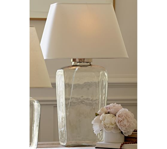 Atrium glass tall table lamp glass table lamps glass table and barn atrium glass table lamp pottery barn aloadofball Image collections