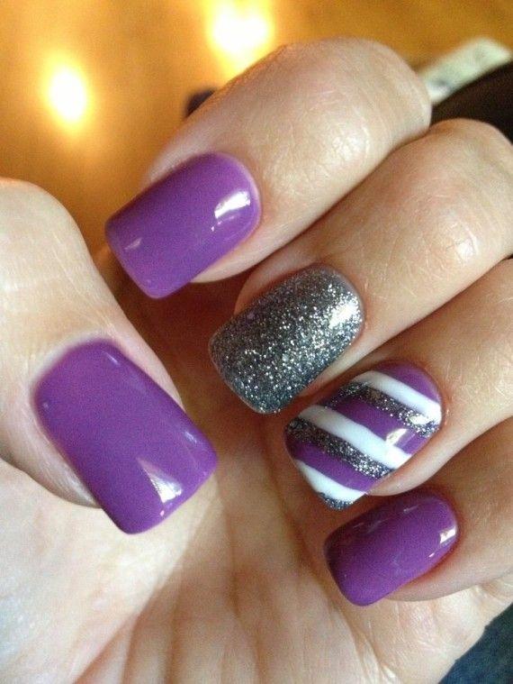 Purple nails uas color purpura indigo morado violeta purple white and silver glitter stripes design nail art prinsesfo Gallery