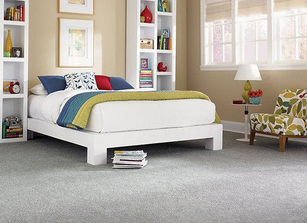 Gray Crabapple  carpet for  bedroom with beige walls and white furniture. Gray Crabapple  carpet for  bedroom with beige walls and white