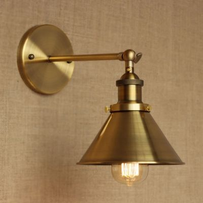 Brass Finish 1 Light LED Wall Sconce with Cone Shade | Statement ...