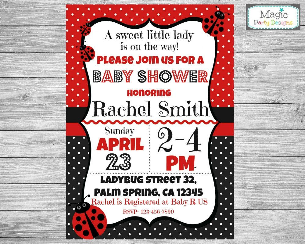 Ladybug baby shower invitation, ladybug baby shower invite ...