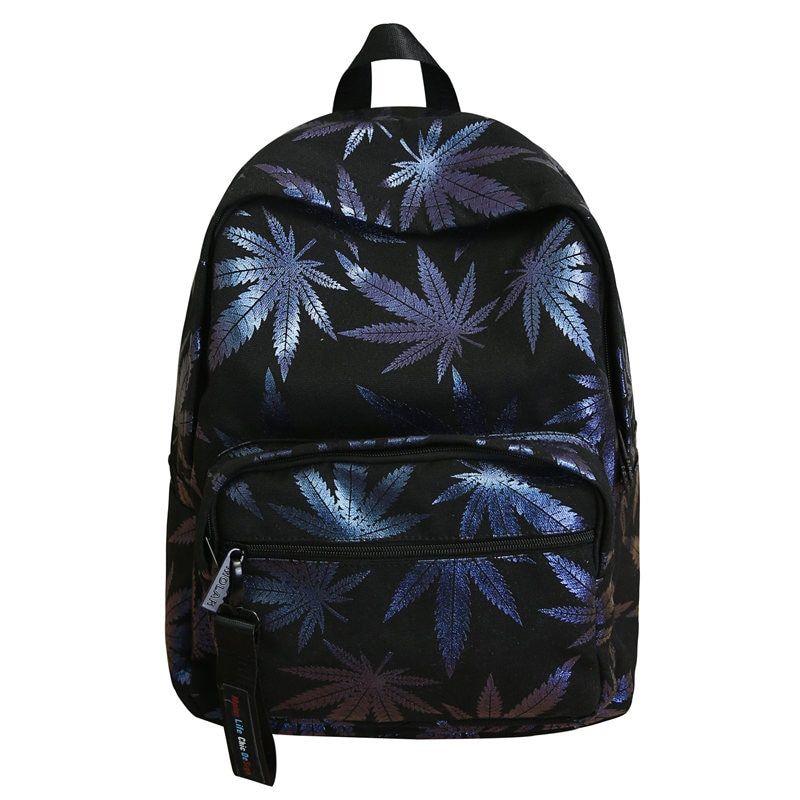 e2b4fb99614 canvas schoolbag Leaf Sequins printing backpack women travel ...