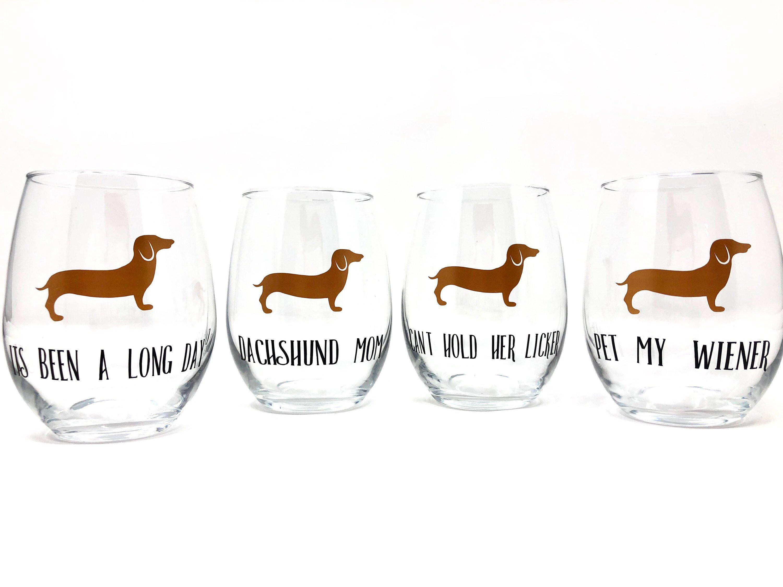 Dachshund wine glass stemless wine glass dog gifts etsy