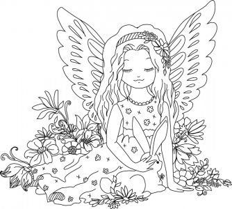 ein hübsches ausmalbild eines engels mit einem hasen