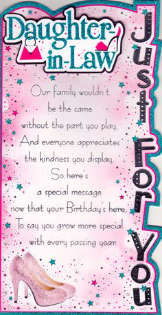Happy Birthday Daughter In Law Card Messages Mom