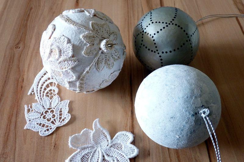 customiser une boule de noel en polystyrene   patouilleà6mains