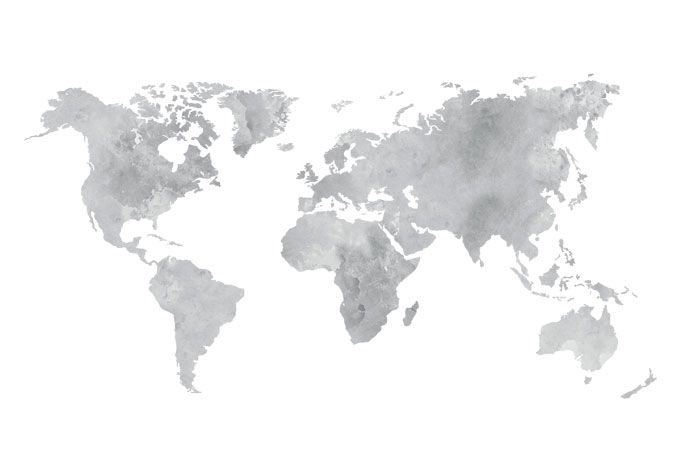water colour world map grey