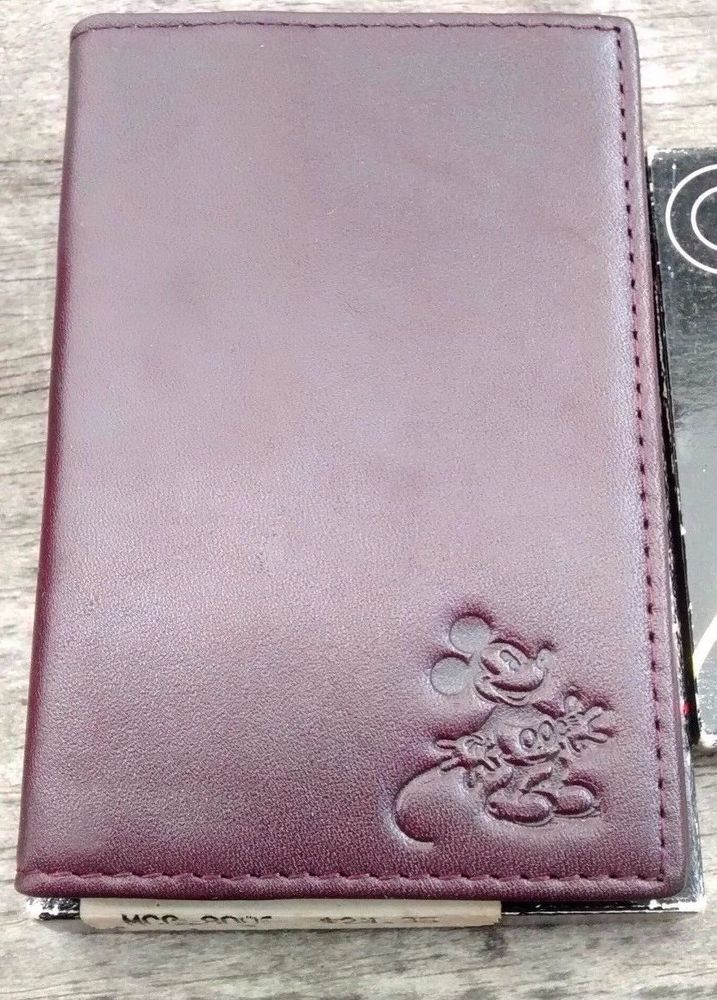 Mickey+Mouse+DISNEY+Leather+Business+Card+Holder+Dark+Brown+New++# ...