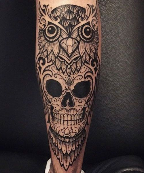 125 Best Owl Tattoos For Men Owl Skull Tattoos Leg Tattoos Mens Owl Tattoo