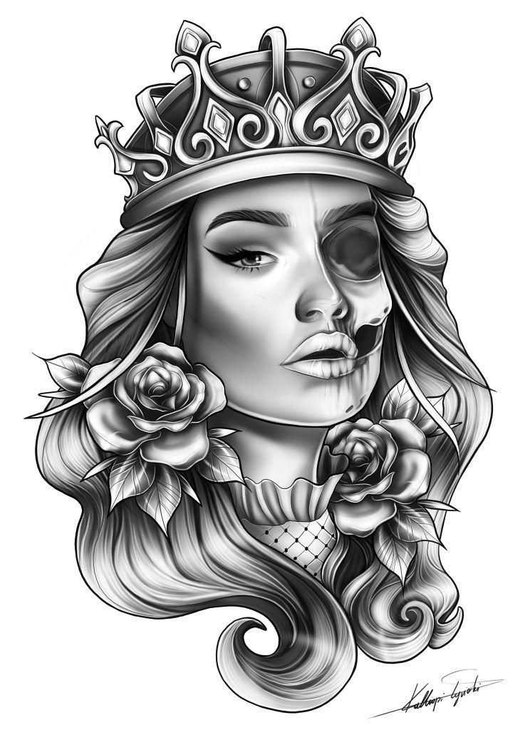 Black Queen Tattoo Designs : black, queen, tattoo, designs, Skull, Femanine, Queen, Sleeve, Custom, Tattoo, Design, TattooTailors.com, Design,, Tattoos,
