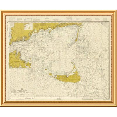 East Urban Home 'Nautical Chart - Nantucket Sound and Approaches ca. 1973 - Sepia Tinted' Framed Graphic Art Print on Canvas Size: