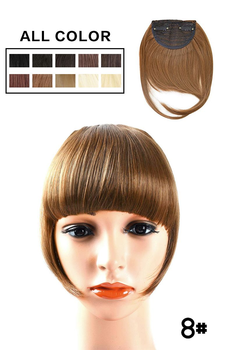Flat bangs with temples, 12% high-quality Heat Resistant Fiber